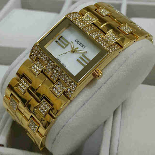 Jual jam tangan Guess rantai segi full gold