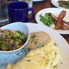 Today's Miss Shirley's trip included the harvest omelet, the delicious broccoli salad, gluten free toast and applewood smoked bacon!