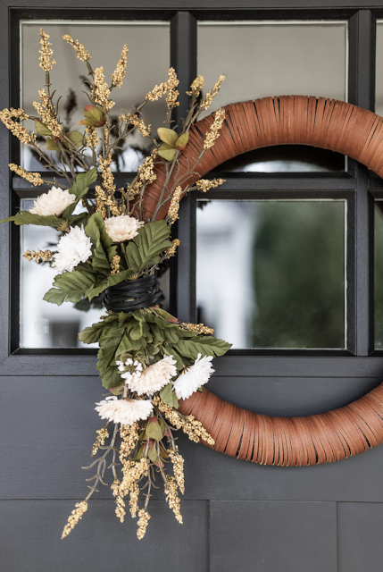 leather wrapped fall wreath