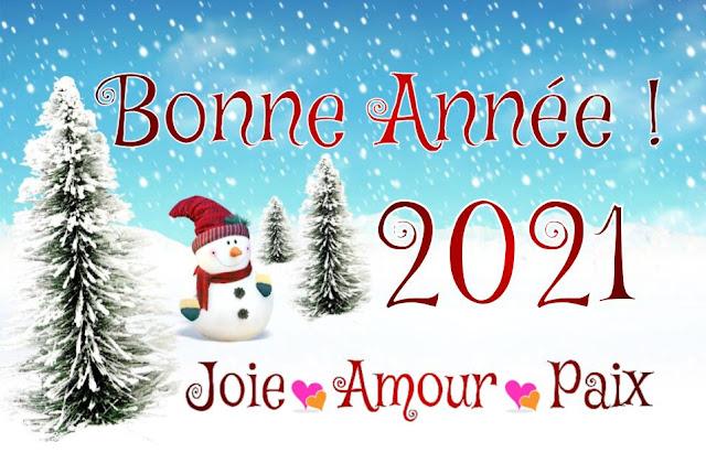 Carte de Paix, joie et amour pour souhaiter la bonne année 2021