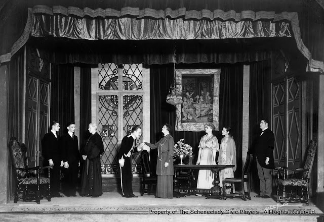 John S. Leith, William Werneke, John Stone Allen, Douglas McMullen, Helen Orford, Mrs. Scott Button, Marie Von H. Charlton and Howard Blanchfield in THE SWAN - December 1933.  Property of The Schenectady Civic Players Theater Archive.