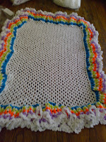 "White oblong shape shawl with large full multi colour frill 46"" (111cm) x 30"" (76cm)"