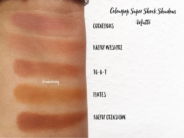 colourpop super shock swatches nc40, colourpop crenshaw vs flutes vs to-a-t vs cornelious vs wilshire