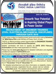 THDC Limited Engineer Trainees GATE 2018 www.indgovtjobs.in