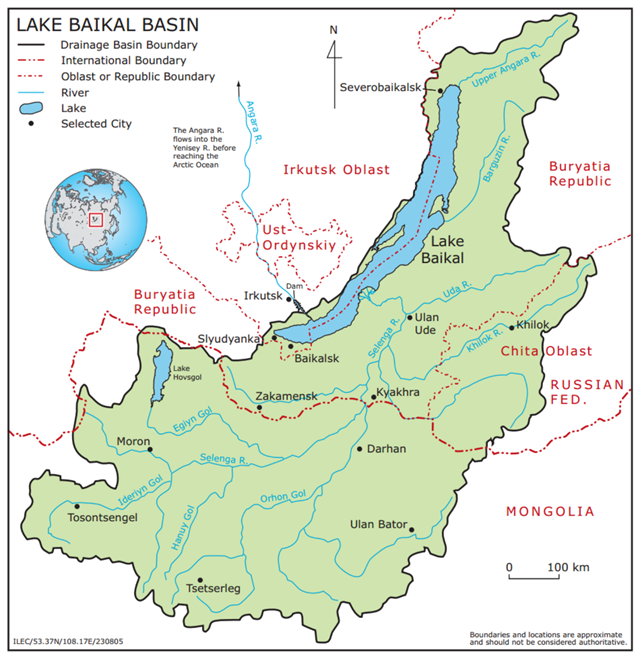 Map showing the Lake Baikal Basin. Graphic: International Lake Environment Committee Foundation (ILEC)