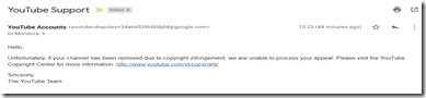 YouTube on copyright strike