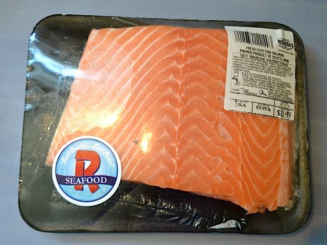whole salmon filet in package