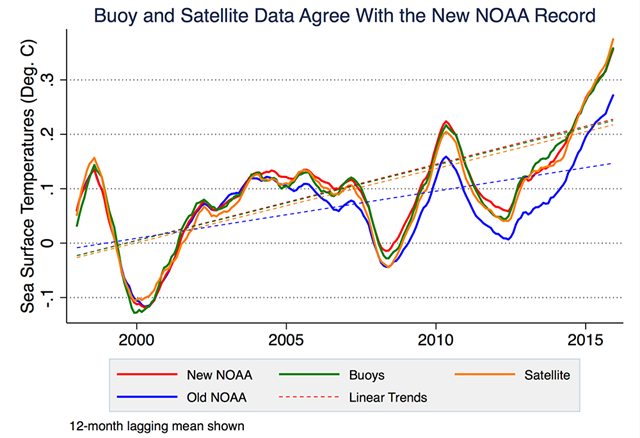 A 2017 UC Berkeley analysis of ocean buoy (green) and satellite data (orange) show that ocean temperatures have increased steadily since 1999, as NOAA concluded in 2015 (red) after adjusting for a cold bias in buoy temperature measurements. NOAA's earlier assessment (blue) underestimated sea surface temperature changes, falsely suggesting a hiatus in global warming. The lines show the general upward trend in ocean temperatures. Graphic: Zeke Hausfather