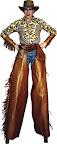 Cowgirl on stilts