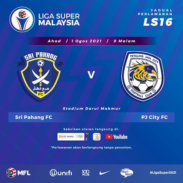 Live Streaming Pahang vs PJ City 1.8.2021