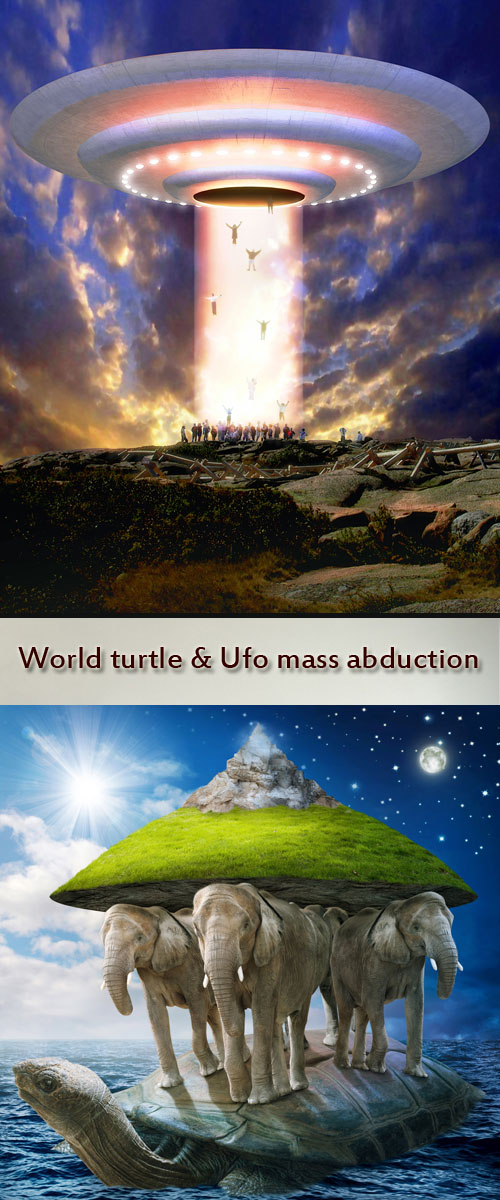 Stock Photo: World turtle & Ufo mass abduction