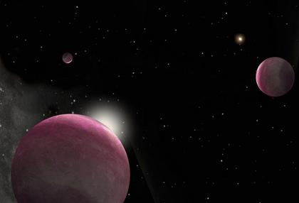ilustração de um sistema estelar binário e três exoplanetas