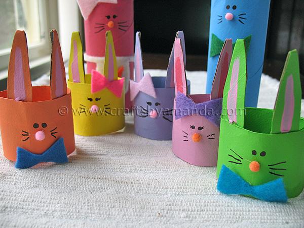 Cardboard Tube Bunny Rabbit Family An Cute Easter Craft