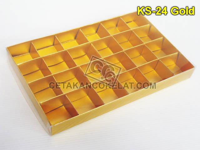 KOTAK 24 Gold kemasan mika sekat KS-24 coklat cokelat
