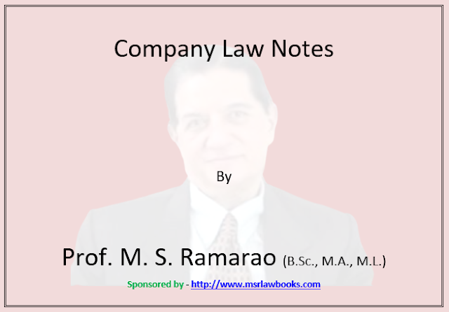 Company Law Notes | Sponsored by MSR Law Books