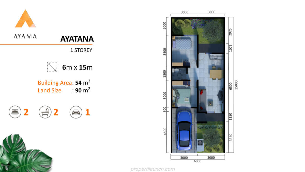 Denah Rumah Ayama Bhumi Amala Tipe Ayatana 1 Lantai