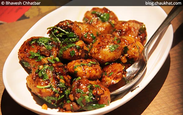 Pepper Garlic Mushrooms at Shizusan (The Asian Bistro) in Phoenix Market City at Viman Nagar area of Pune