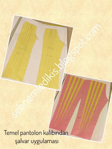 Temel pantolon kalıbından Şalvar uygulaması