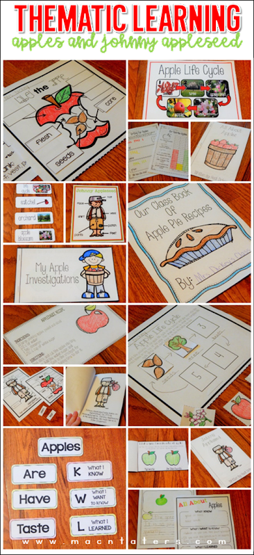 Apples and Johnny Appleseed Thematic Learning Activities: Posters, Activities, Labeling, Nonfiction Reader and more