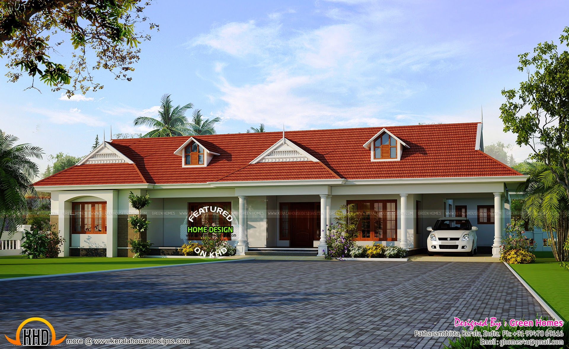Single storied house with dormer windows kerala home for Single floor 4 bedroom house plans kerala