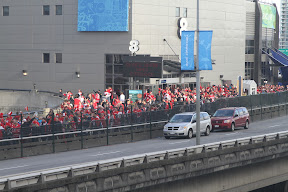 A sea of red leaving the hockey game next door