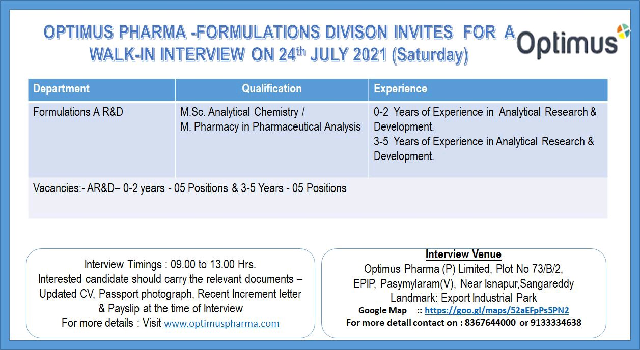 Opening (10 vacancies) In Analytical Research At Optimus Drugs (Freshers & Experienced)