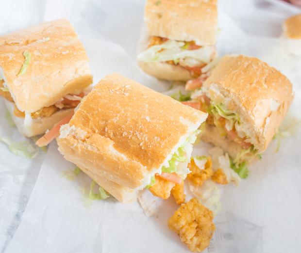 overhead photo of Golden Fried Shrimp po' boy