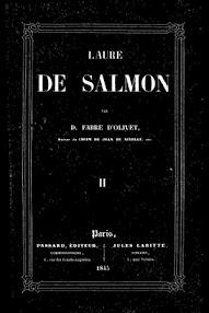 Cover of Fabre d'Olivet's Book Laure de Salmon, Tome II (1845,in French)