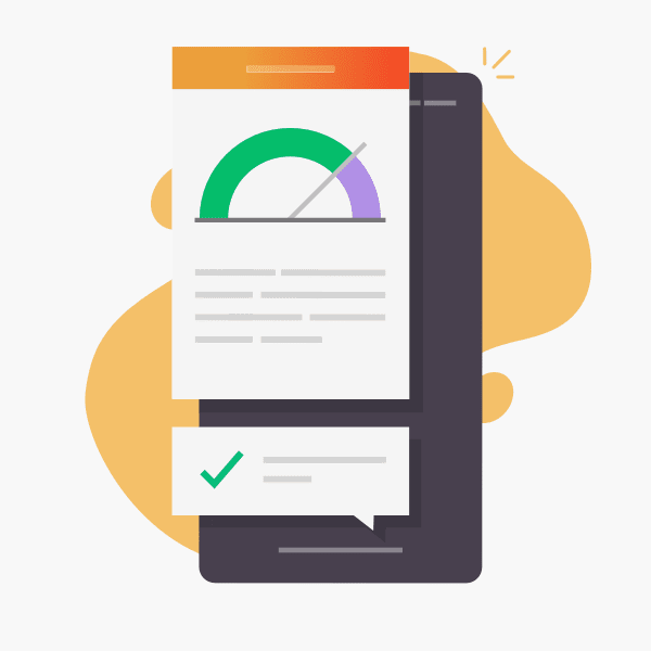 illustration of mobile website with speed indicator