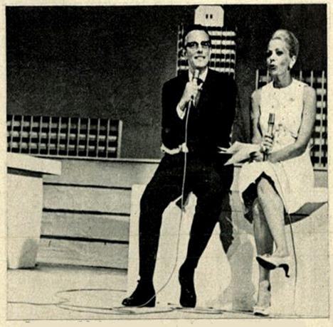 Blota Junior e Sonia Ribeiro no programa Fim de Noite pela TV Record - 1971