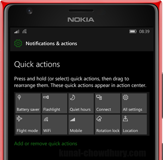 Rearranged view of Quick Action buttons (www.kunal-chowdhury.com)