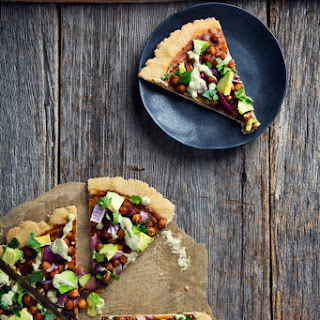 Vegan & Gluten-Free BBQ Chickpea Pizza with Ranch Dressing