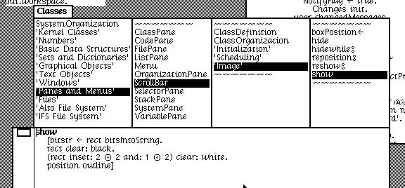 Using the Smalltalk class browser, we can view the code to show a ScrollBar.
