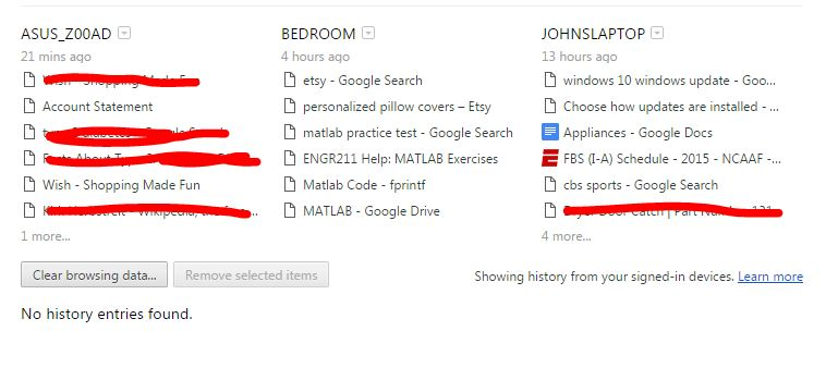 Browsing History From Synced Devices Cannot Be Deleted Google