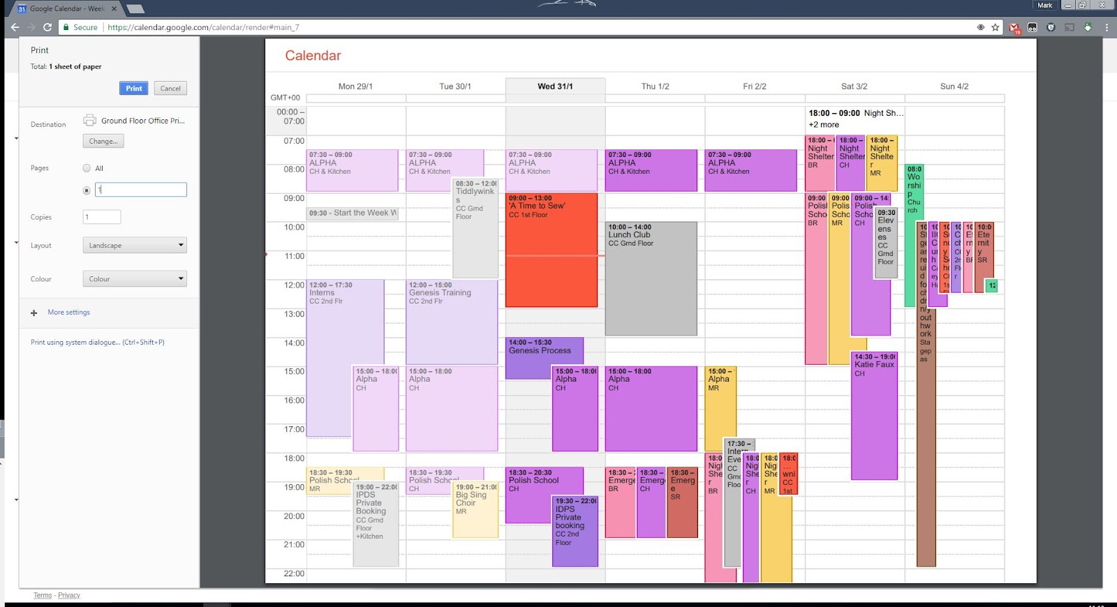 printing from calendar in chrome times wrong google product forums