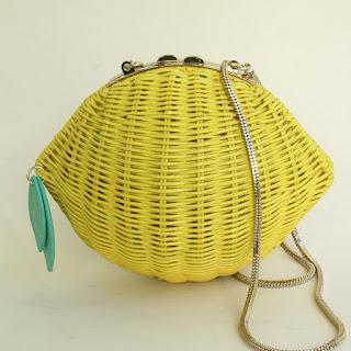 Kate Spade Lemon Rattan Crossbody Bag