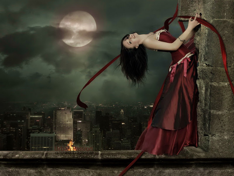 Fantasy Girl And Moon In Sky, Moon Magic