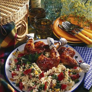 Summer Pasta Salad with Spicy Chicken.