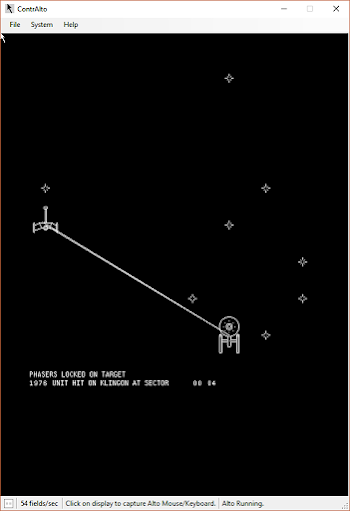 The Spacewar game on the (simulated) Xerox Alto lets you battle Klingons.