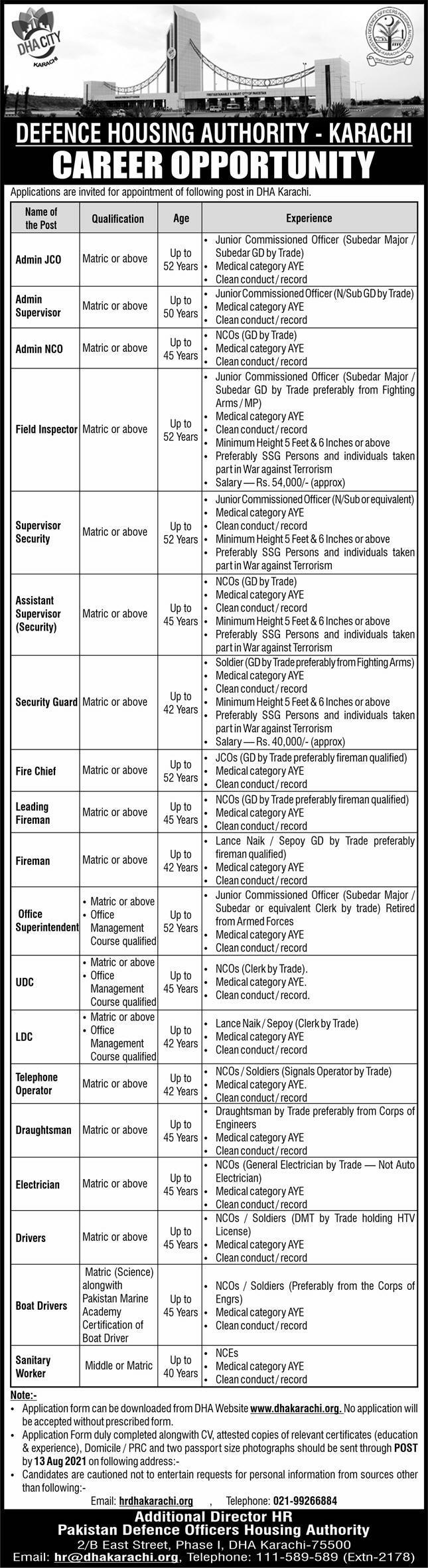 Defence Housing Authority Karachi Jobs August 2021
