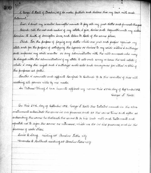 HALL_George F_will_Jul 1896_pg 1 of 2