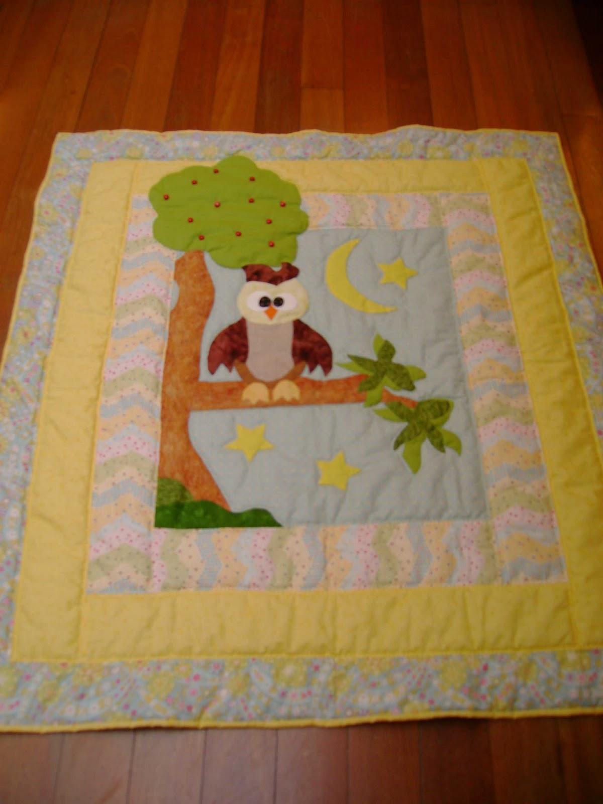 Quilt art patch colcha bebe buho - Patrones para colchas de patchwork ...