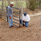 Hanging the gate to the easment