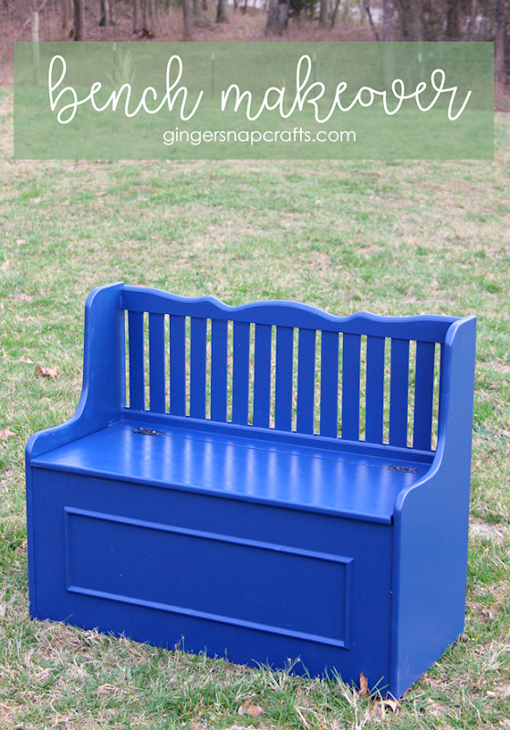 bench makeover at GingerSnapCrafts.com #decoart #decoartprojects #DIY