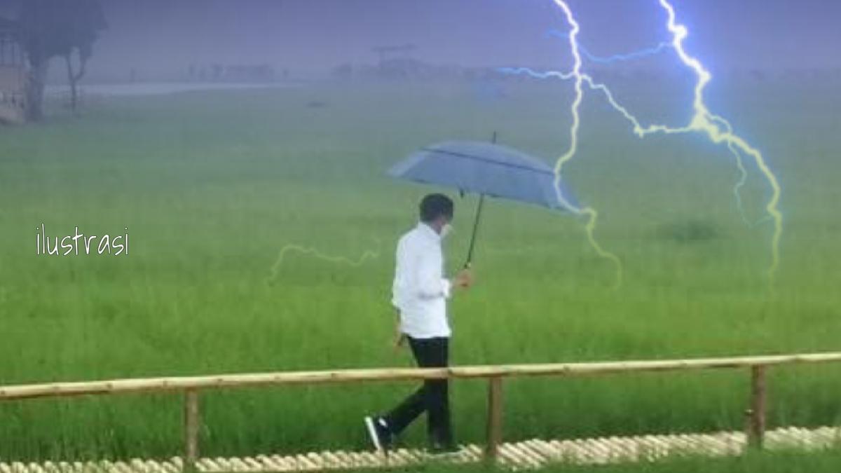 Jokowi Hujan-hujanan di Tengah Sawah, Andi Arief: Siapa Tanggung Jawab Kalau Gundala Tersambar Petir?