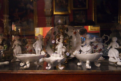 White ceramic collection at Wilanow Palace Museum in Warsaw Poland