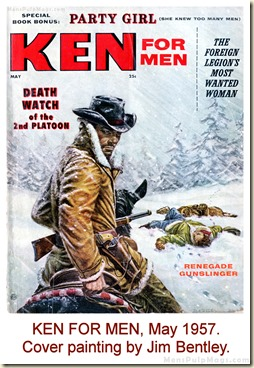 KEN FOR MEN, May 1957. Cover painting by Jim Bentley WM