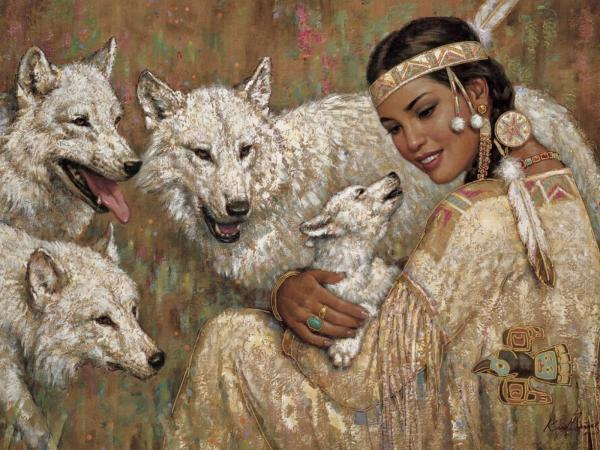 Indian Girl And Wolves, Spirit Companion 1