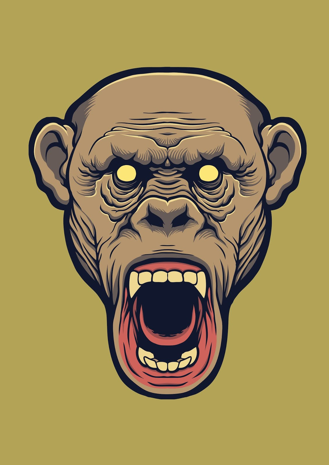 Chimpanzee Head Design Illustration Free Download Vector CDR, AI, EPS and PNG Formats
