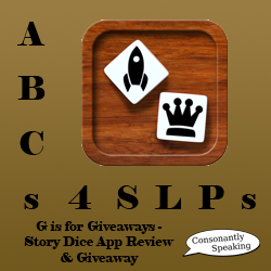 ABCs 4 SLPs: G is for Giveaways - Story Dice Application Review and Giveaway image